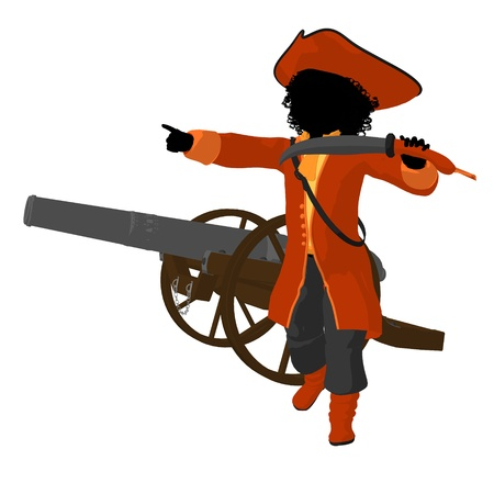 African american teen pirate with a cannon on a white background photo