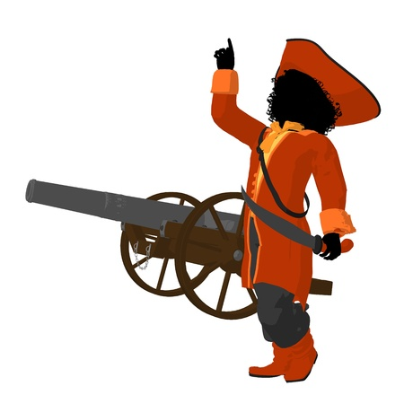 marauder: African american teen pirate with a cannon on a white background