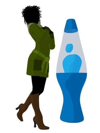 lava lamp: African american disco girl standing by a lava lamp on a white background