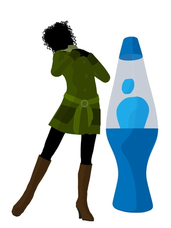 disco era: African american disco girl standing by a lava lamp on a white background