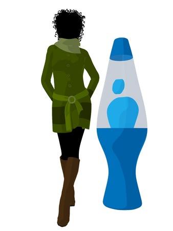 african american silhouette: African american disco girl standing by a lava lamp on a white background