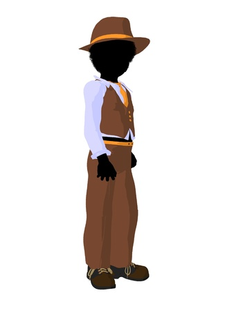 children silhouettes: African american teen business silhouette illustration on a white background Stock Photo