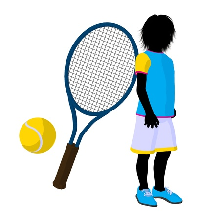 tennis shoes: Teen tennis player with a tennis racket and ball on a white background