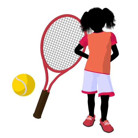tennis racket: Teen tennis player with a tennis racket and ball on a white background