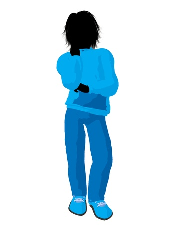 cargo pants: Teen urban male dressed in casual clothes on a white background Stock Photo
