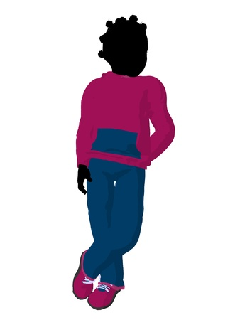 cargo pants: African american teen urban female dressed in casual clothes on a white background Stock Photo