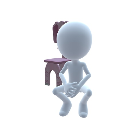 kindergarden: 3D guy with a elephant chair on a white background