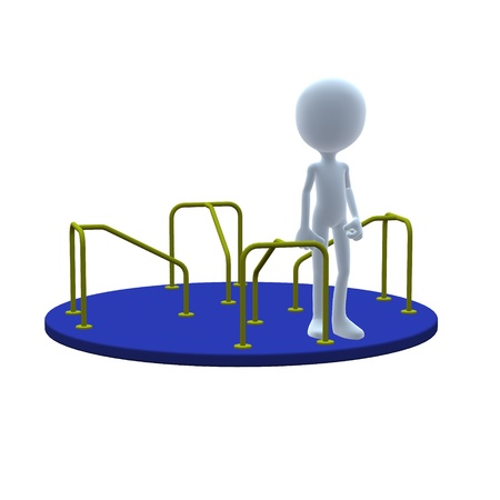 merry go round: 3D guy with merry go round on a white background