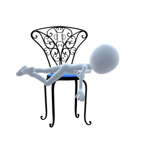 patio furniture: Ragazzo 3D con mobilia del patio su sfondo bianco Archivio Fotografico