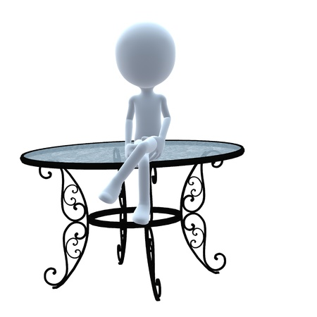patio: 3D guy with patio furniture on a white background Stock Photo