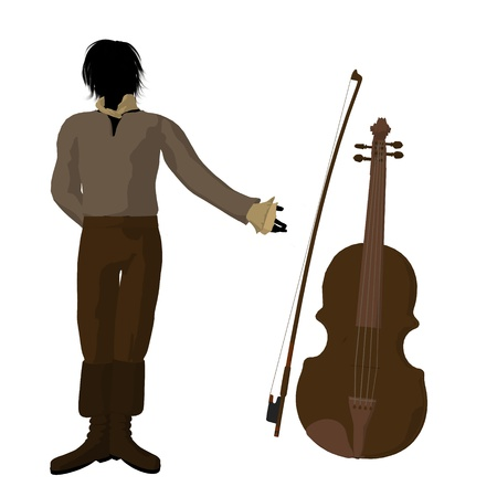beethoven: Ludwig van Beethoven with a violin on a white background Archivio Fotografico