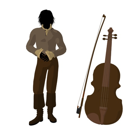 beethoven: Ludwig van Beethoven with a violin on a white background Stock Photo