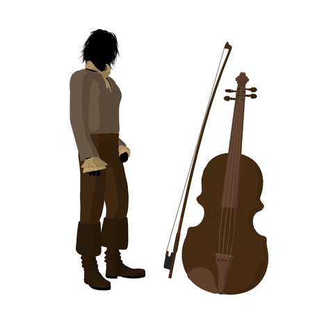 Ludwig van Beethoven with a violin on a white background Imagens
