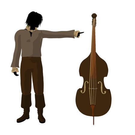 Ludwig van Beethoven with a cello on a white background Imagens