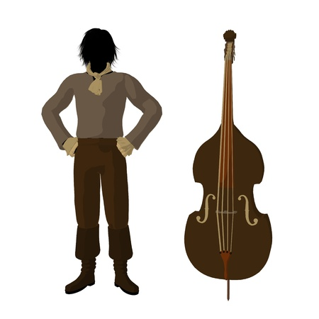 theatrical performance: Ludwig van Beethoven with a cello on a white background Stock Photo