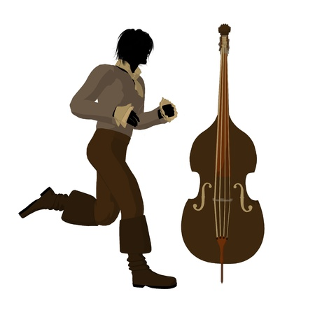 beethoven: Ludwig van Beethoven with a cello on a white background Stock Photo