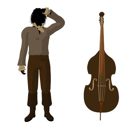 Ludwig van Beethoven with a cello on a white background Stock Photo