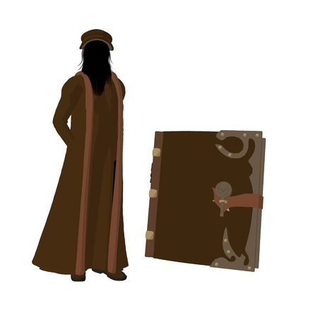 Leonardo Da Vinci met een boek op een witte achtergrond