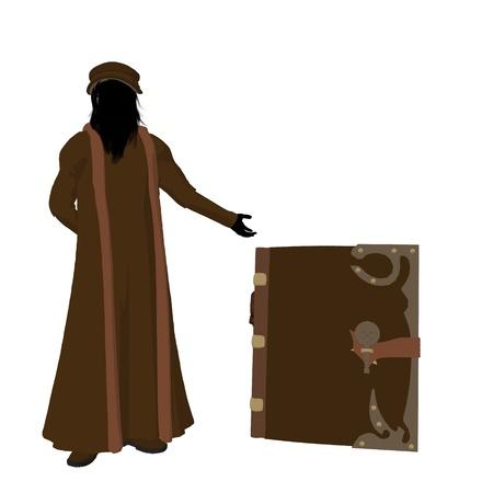 Leonardo Da Vinci met een boek op een witte achtergrond Stockfoto - 9400022