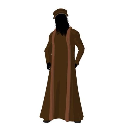 Leonardo Da Vinci silhouette on a white background