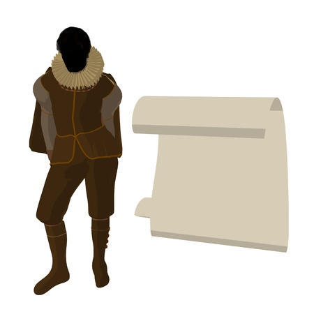 William Shakespeare with parchment on a white background