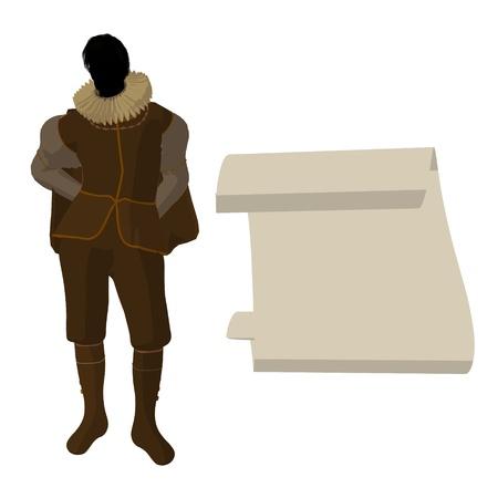 William Shakespeare con el pergamino sobre un fondo blanco Foto de archivo - 9400006