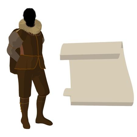 William Shakespeare con pergamino sobre un fondo blanco Foto de archivo - 9400018