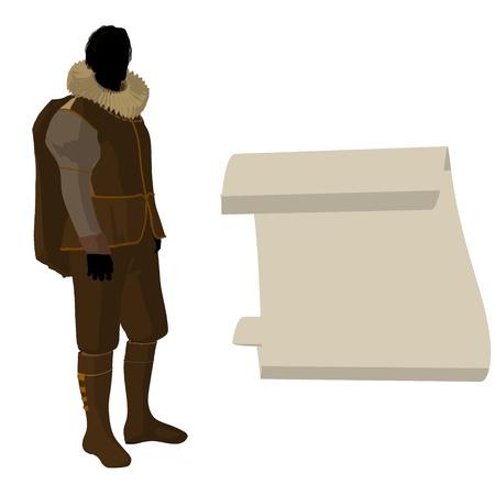 William Shakespeare con el pergamino sobre un fondo blanco Foto de archivo - 9400010