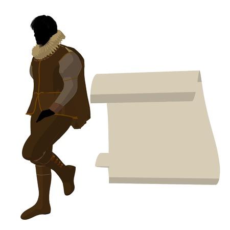 William Shakespeare con pergamino sobre un fondo blanco Foto de archivo - 9400009