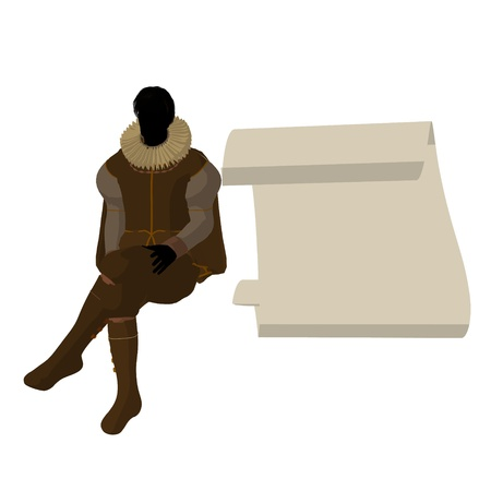 william shakespeare: William Shakespeare with parchment on a white background