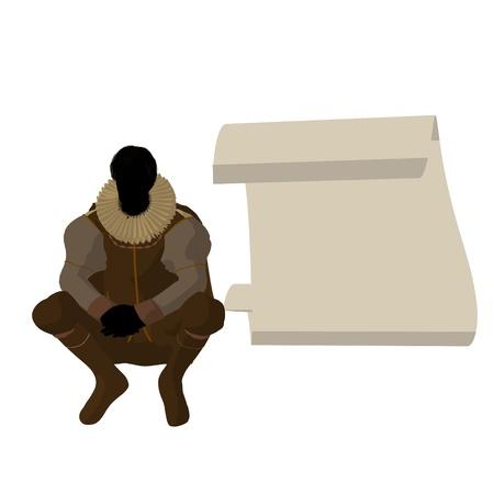 William Shakespeare con pergamino sobre un fondo blanco Foto de archivo - 9399932