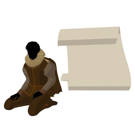 William Shakespeare con el pergamino sobre un fondo blanco Foto de archivo - 9399935