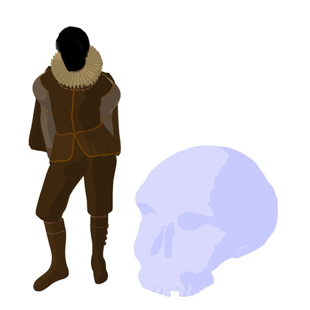 william shakespeare: William Shakespeare with skull on a white background