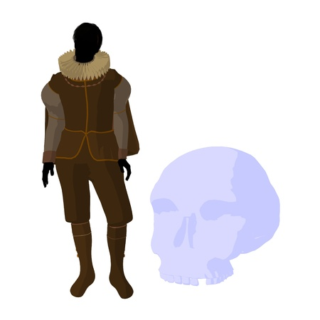 William Shakespeare with skull on a white background