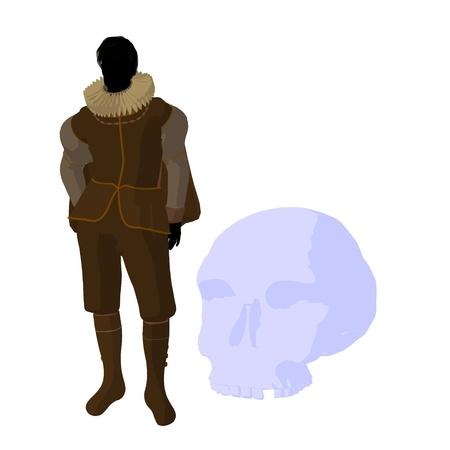 William Shakespeare con cr?neo sobre un fondo blanco Foto de archivo - 9400026