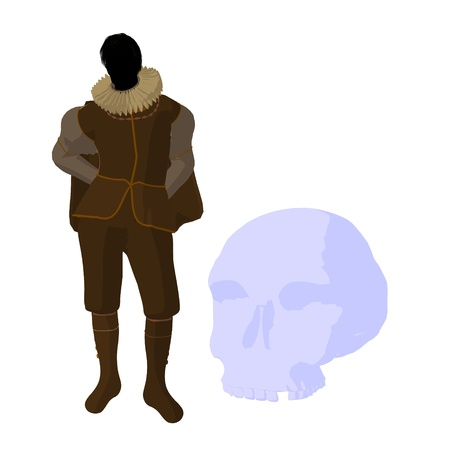 shakespeare: William Shakespeare with skull on a white background
