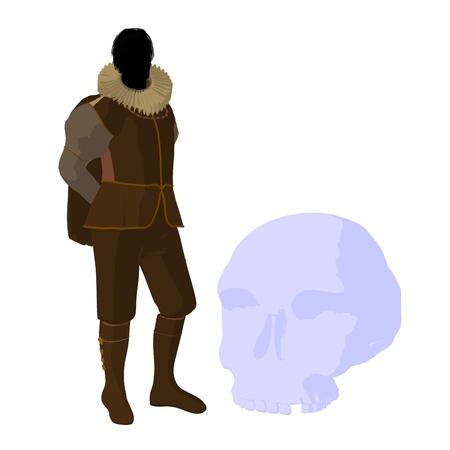William Shakespeare con cr?neo sobre un fondo blanco Foto de archivo - 9400038