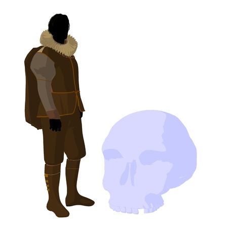 William Shakespeare con cr?neo sobre un fondo blanco Foto de archivo - 9400027