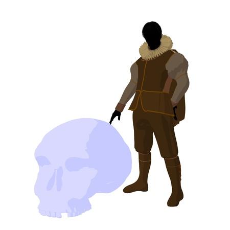 William Shakespeare con cr?neo sobre un fondo blanco Foto de archivo - 9400024