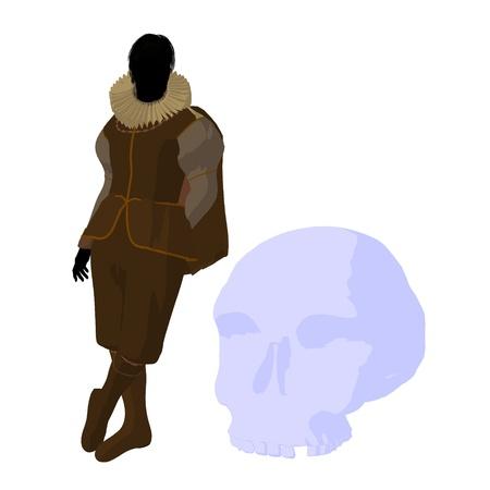 William Shakespeare con cr?neo sobre un fondo blanco Foto de archivo - 9400042