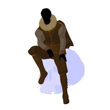 William Shakespeare con cráneo sobre un fondo blanco Foto de archivo - 9400079