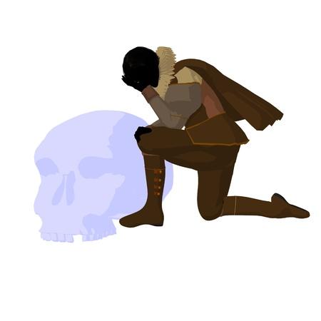 William Shakespeare con cr?neo sobre un fondo blanco Foto de archivo - 9400043