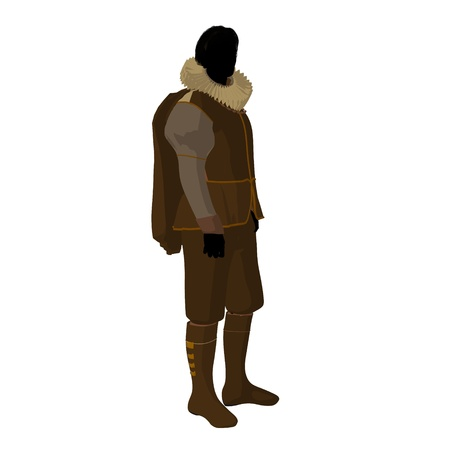 William Shakespeare silhouette on a white background