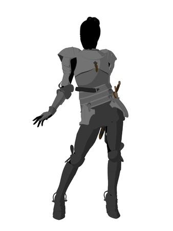 Joan van Arc-silhouet op een witte achtergrond