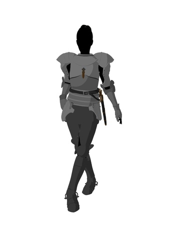 Joan of Arc silhouette on a white background Stockfoto