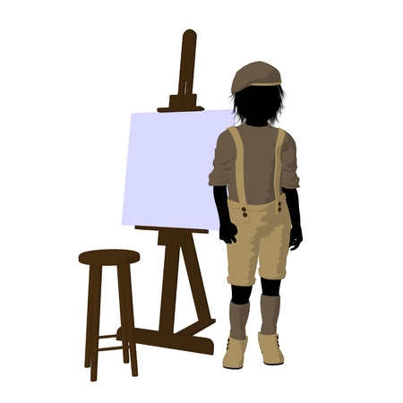 Male tween artist with an easel and stool on a white background photo