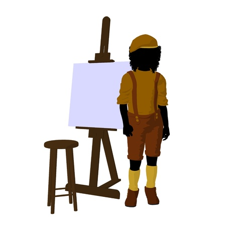 Male tween african american artist with an easel and stool on a white background photo
