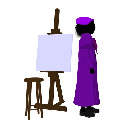 Female tween artist with an easel and stool on a white background photo
