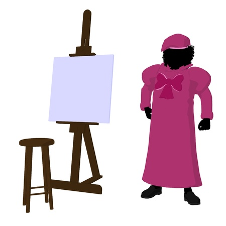 Female tween african american artist with an easel and stool on a white background photo