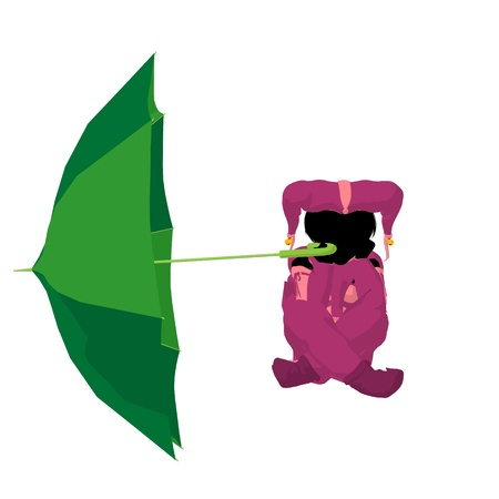 pirouette: Female tween clown with an umbrella on a white background
